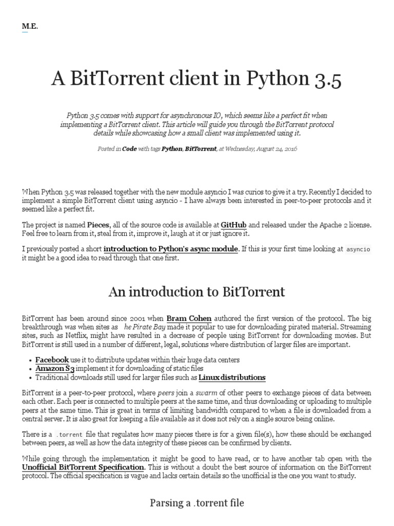 A BitTorrent Client in Python 3 | Computer Data | Areas Of Computer