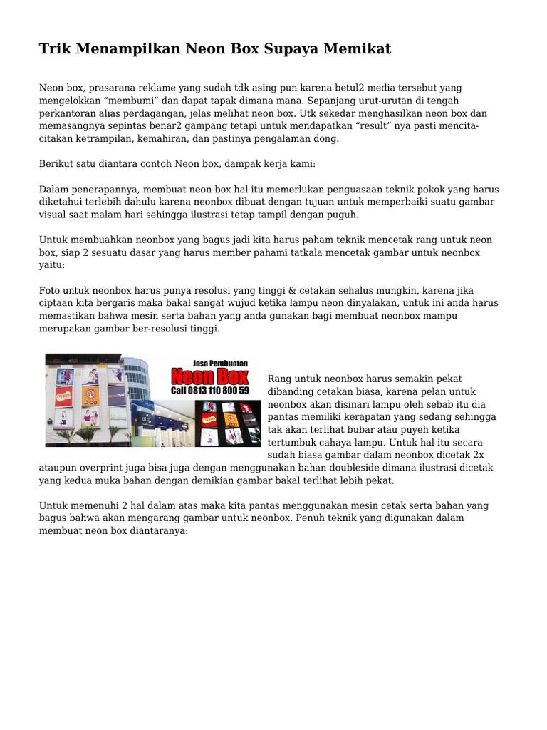 Trik Menampilkan Neon Box Supaya Memikat