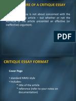 Critique Essay Format (1)