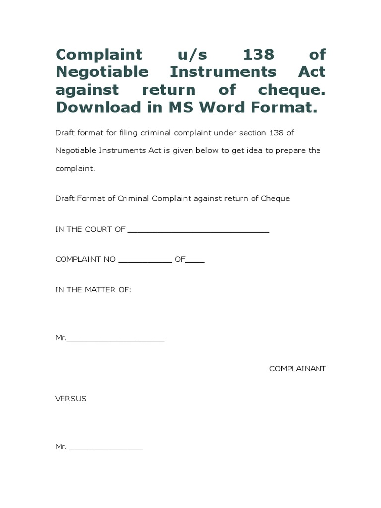 Complaint us 138 of ni act in ms word format against return of complaint us 138 of ni act in ms word format against return of cheque download negotiable instrument cheque thecheapjerseys Images