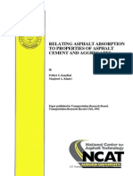 Relating Asphalt Absorption to Properties of Asphalt Cement and Aggregate