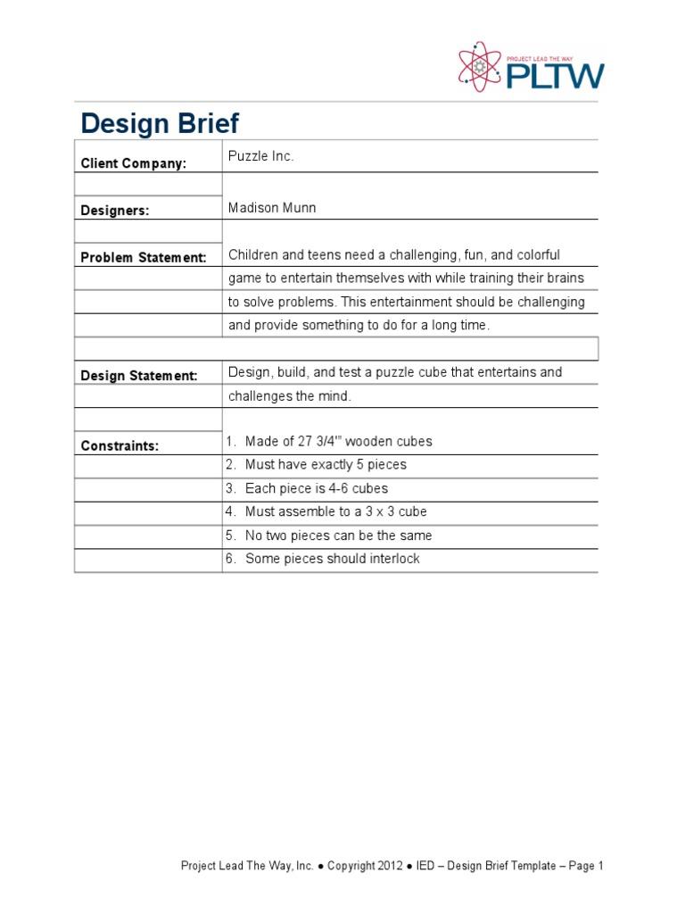 Puzzle Cube Design Brief - Game design brief