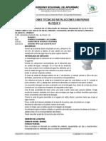 Especificaciones Técnicas Instalaciones Sanitarias Bloque 2