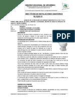 Especificaciones Técnicas i. Sanitarias Bloque III