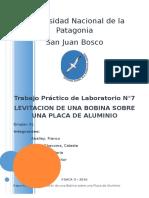 TP de Lab N°7 - Levitacion de una bobina sobre una placa de aluminio