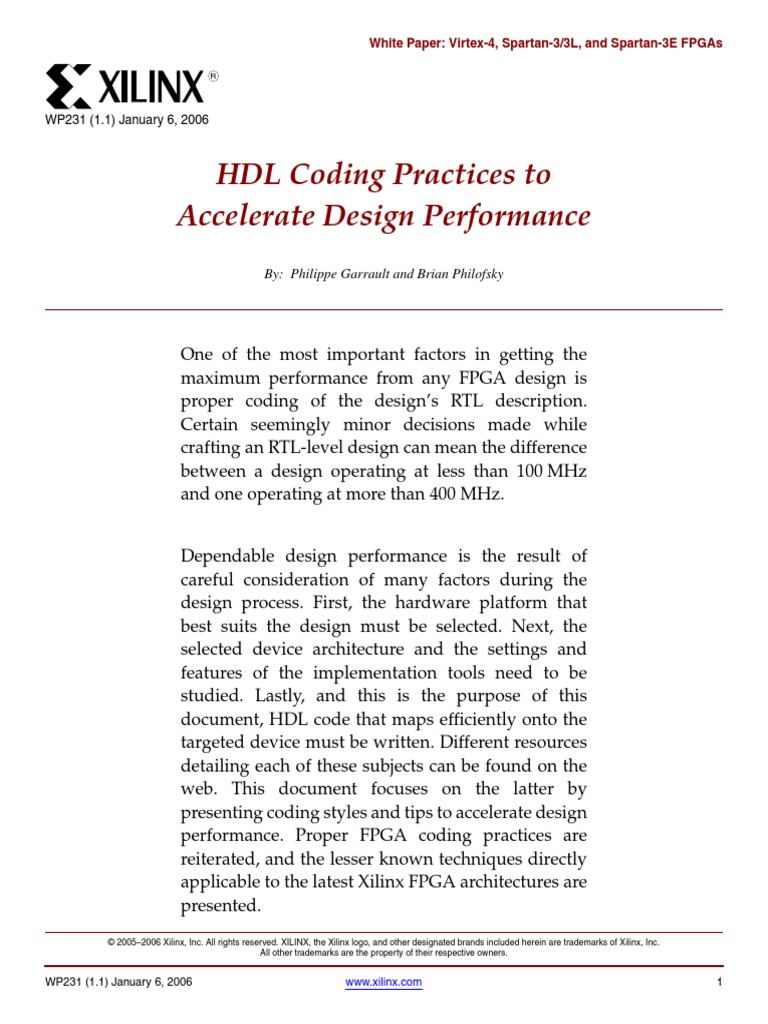 HDL Coding Practices wp231 pdf | Field Programmable Gate