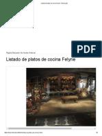 Listado de Platos de Cocina Felyne - ElOtroLado