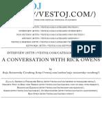 A Conversation With Rick Owens | Vestoj