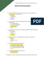 Examen de Especialidades II