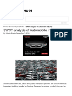 SWOT Analysis of Automobile Industry