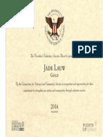 "President Volunteer Reward for Jade ""GOLD"""