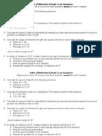 Index of Refraction&Snells Worksheet
