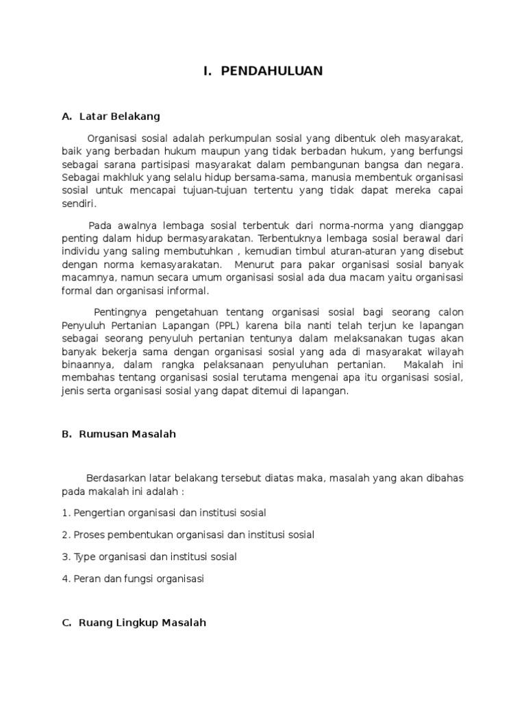 Contoh Makalah Organisasi Sosial Docx