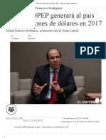 Acuerdo OPEP Generará Al País 7.300..