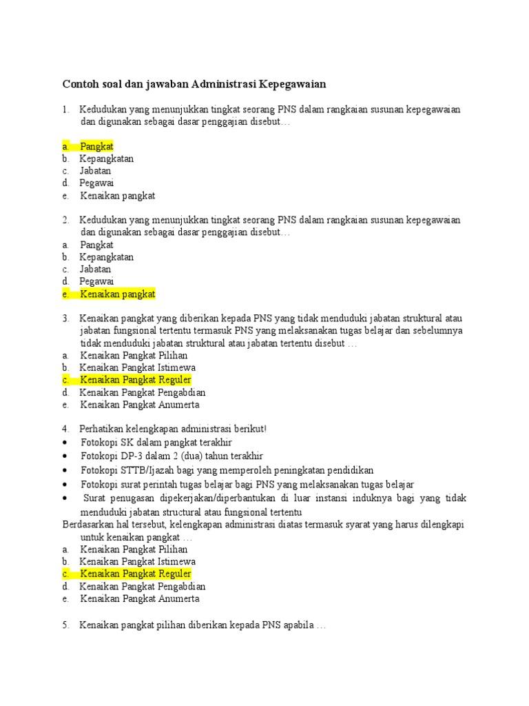 21 Contoh Soal Cat Uji Kompetensi Jabatan Struktural Kumpulan Contoh Soal