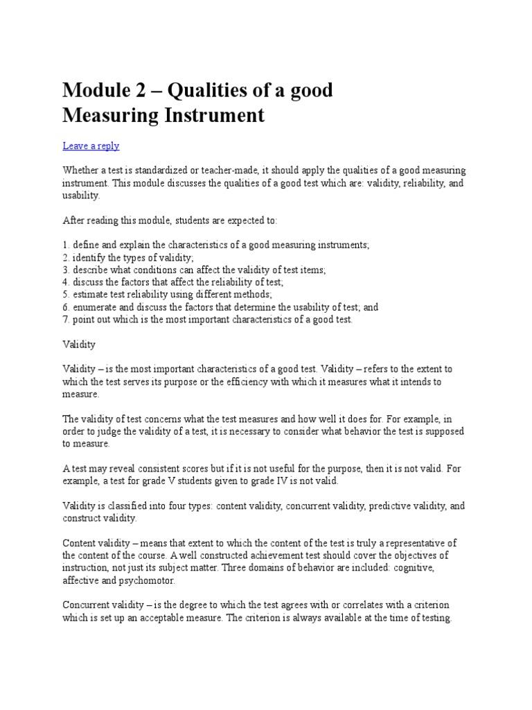 Measuring Instrument Module 2 Validity Statistics Spearmans