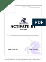 Intermediate exam in English j5 - Activate b1 - Final Exam - 2015