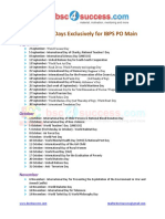 Important Days Exclusively for IBPS PO Main