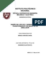 DISEÑO DEL NÚCLEO Y BOBINAS PARA UN TRANSFORMADOR POR MEDIO DE UN SIMULADOR.pdf