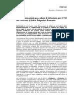 Procedure Di Infrazione Per Il 112 nei confronti di Italia,