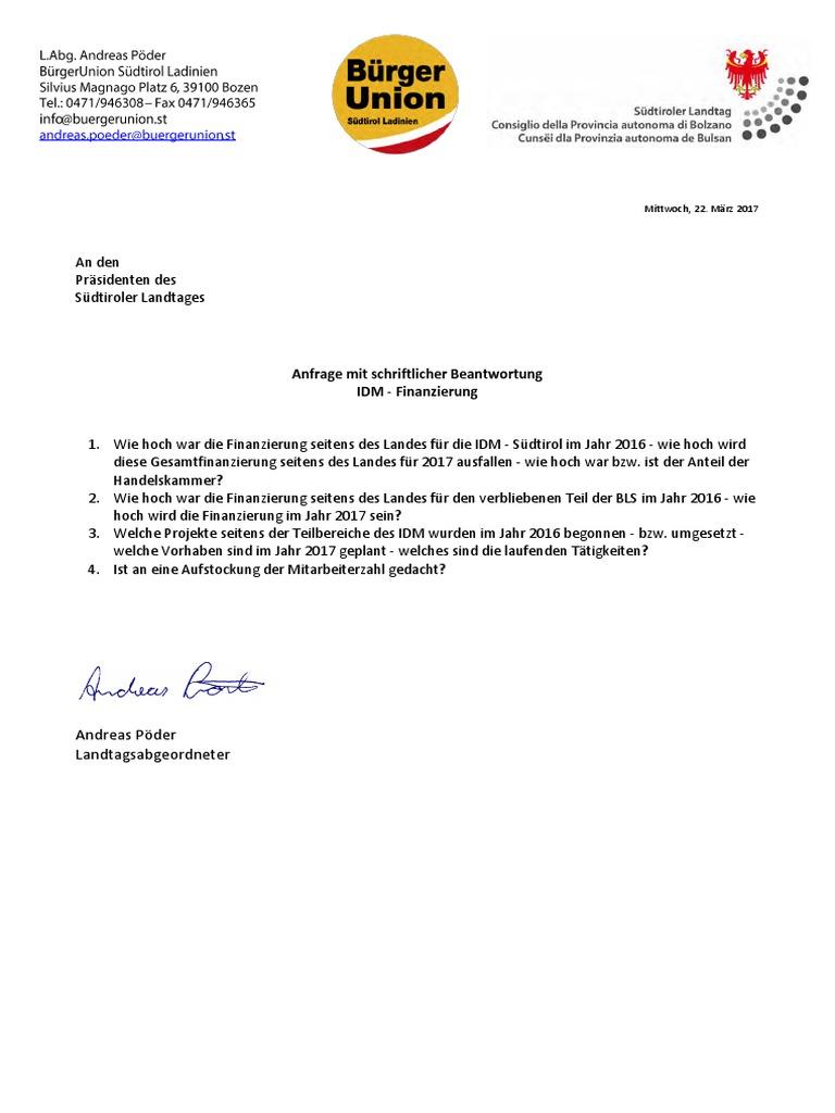 IDM-Finanzierung - Landtagsanfrage Andreas Pöder & Antwort LH