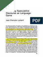 Lyotard - Analyzing Speculative Discourse as a Language Game