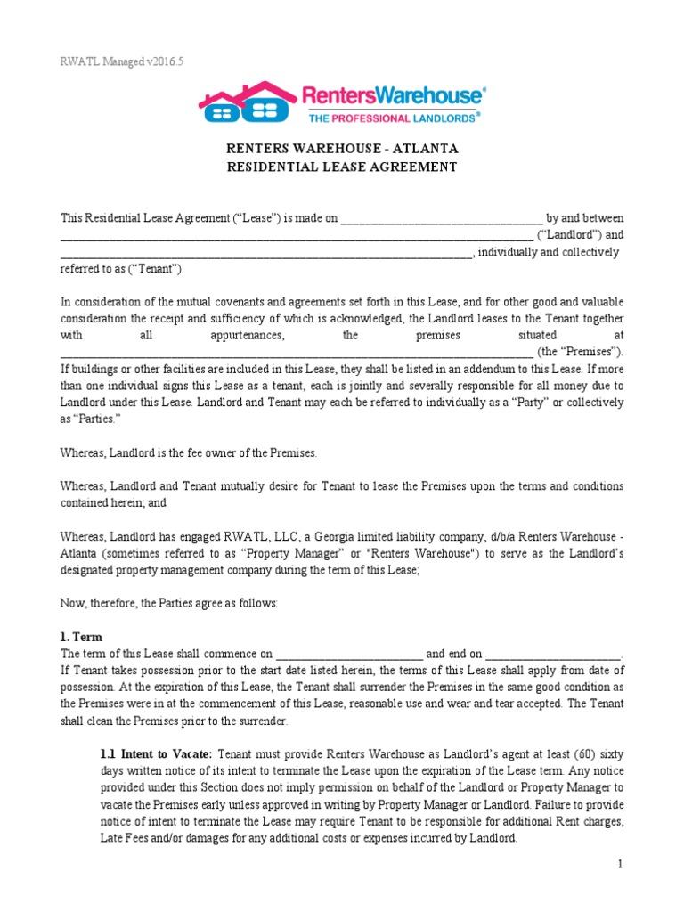 Renters Warehouse Atlanta Managed Lease 20165 Example Rwatl