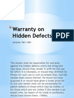 Warranty on Hidden Defects