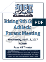 rising 9th grade night flyer 2017