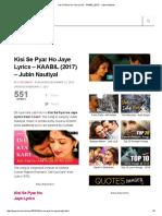 Kisi Se Pyar Ho Jaye Lyrics - KAABIL (2017) - Jubin Nautiyal