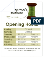 opening hours poster