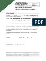 004 Formatos Documentos Servicio Social de Estudiantado