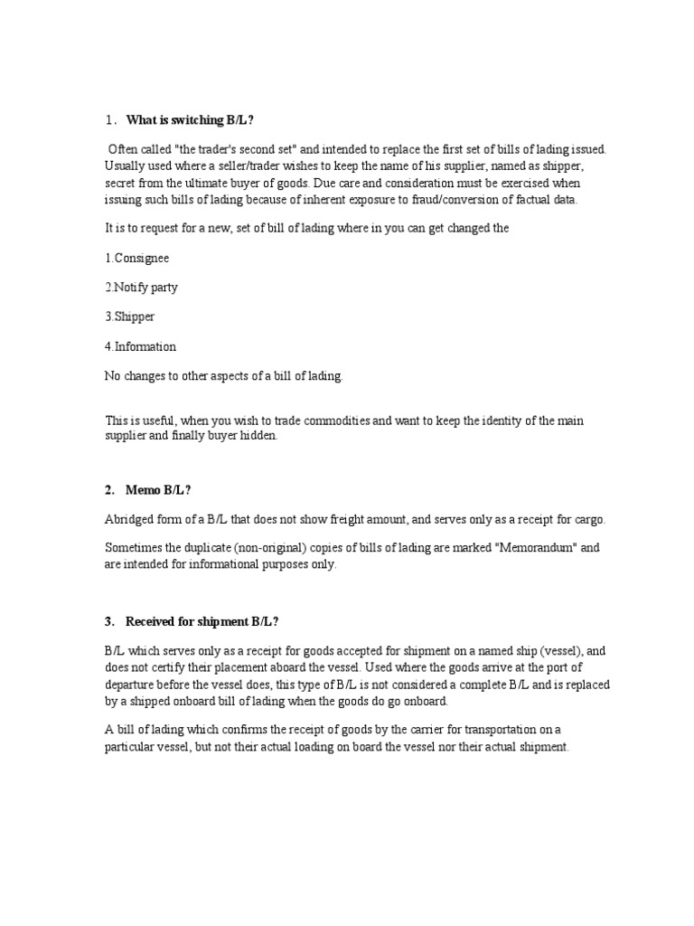 Types of BL...Notes | Bill Of Lading | Cargo
