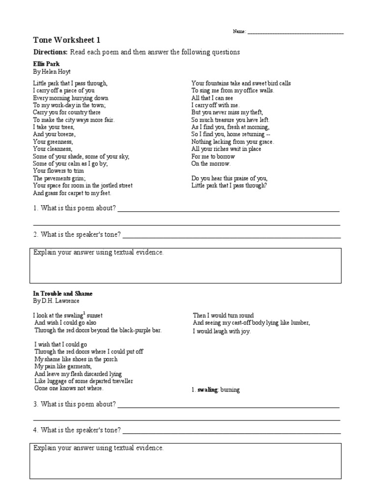 Tone Worksheet 3 23 2017