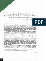 LUQUE COLOMBRES, C.A. - La enseñanza de la filosofía en la Universidad de Córdoba durante los últimos años de la dominación española.pdf