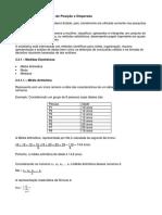 Medidas Estatísticas de Posição e Dispersão