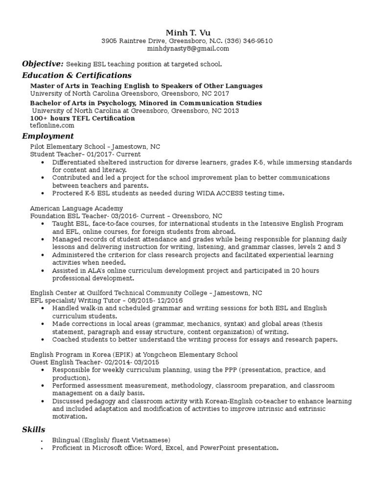 minh vu professional resume english as a second or foreign minh vu professional resume english as a second or foreign language education theory