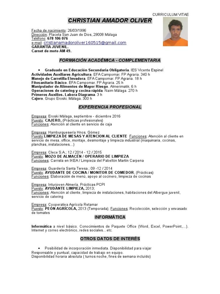 curriculum vitae eroski malaga