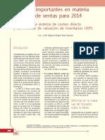 582 Aspectos Importantes en Materia de Costo de Ventas Para 2014. Eliminación de Sistema de Costeo Directo y Del Método de Valuación de Inventarios UEPS