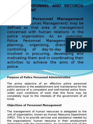 POLICE PERSONNEL RECORDS MANAGEMENT ppt | Policy | Employment