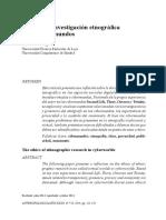 Ética de La Investigación Etnográfica en Los Cibermundos