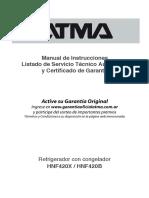 Manual de heladeras ATMA ModeloHNF420X HNF420B