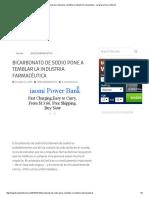 Bicarbonato de Sodio Pone a Temblar La Industria Farmacéutica - La Iglesia en La Internet