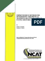 Improved Rice Method for Determining Theoritical Maximum Density of Asphalt Paving Mixtures