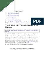 Guitar Jazz Theory 5 Scales Pentatonik
