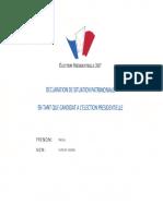 Déclaration de patrimoine Nicolas Dupont-Aignan