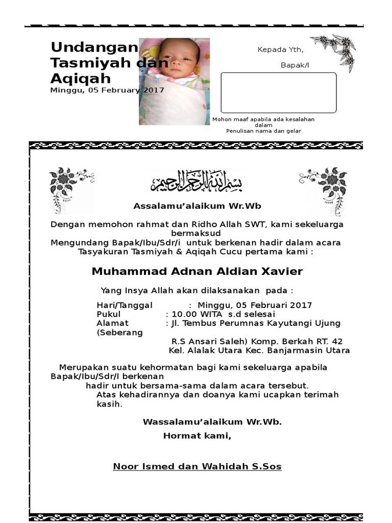 Undangan Aqiqah Tasmiyah   PDF