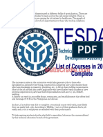 Tesda Offered Courses Are Disseminated in Different Fields of Specialization