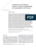 LANE Constructive Commens on Massey Space-time Science and Relationship Between Physical and Human Geography