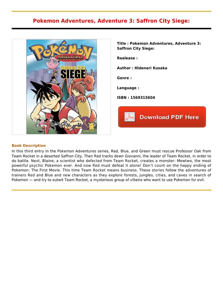 Free Downloads Ebook Pokemon Adventures Adventure 3 Saffron City Siege Pdf   E Books